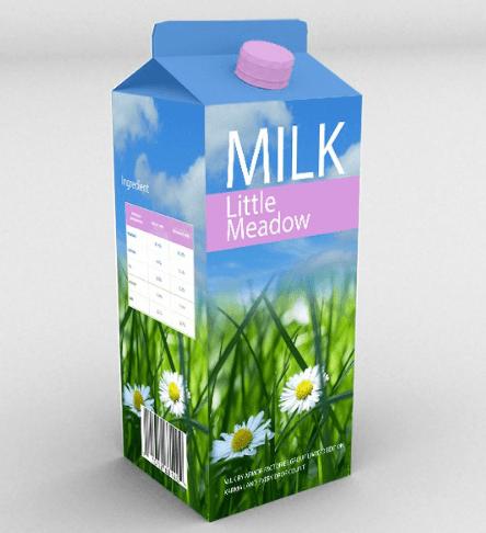 Free PSD Milk Box Mockup