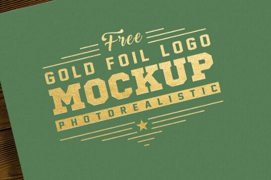 Free Photorealistic Gold & Silver Foil Logo Mockup PSD