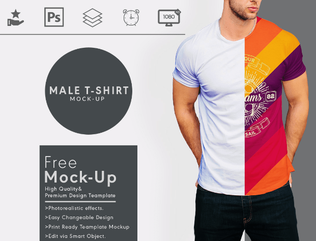 Round Neck Men T Shirt Mock Up