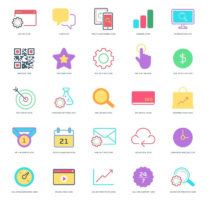 25 Free Flat Fancy Seo Icons 2018