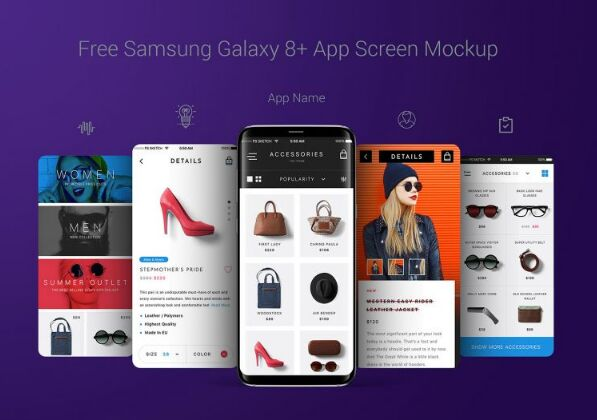Free Samsung Galaxy S8 Plus App Screen Mockup PSD