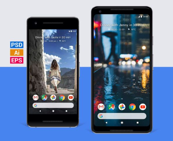 Free Google Pixel 2 & Pixel 2 XL Mockups in PSD, Ai & EPS