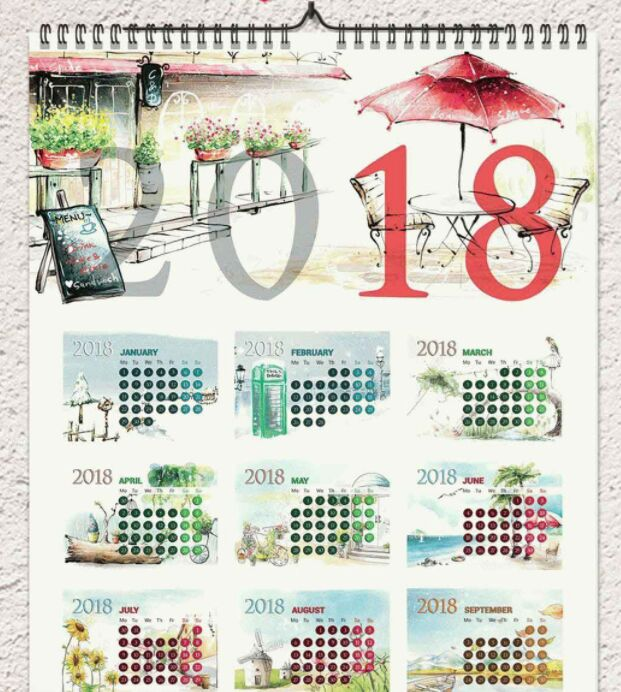 FREE 2018 CALENDAR TEMPLATE 1 AND 12 PAGES A3