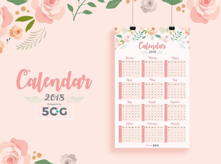 10 Free Printable 2018 Calendar Templates For Designers 365 Web