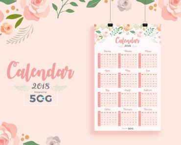 FREE Free One Page 2018 Printable Wall Calendar Design Template