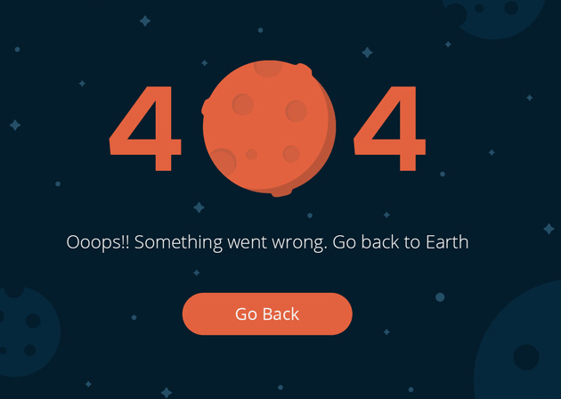 Space 404 Error Page Template PSD