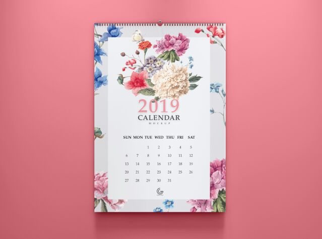 Free 2019 Calendar Mockup PSD For Presentation-min