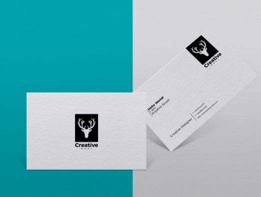 Free Textured Business Card Branding PSD Mockup