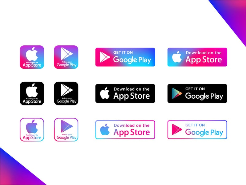 Play Store & App Store Vector Icons