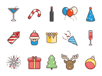 Set New Year Icon Set