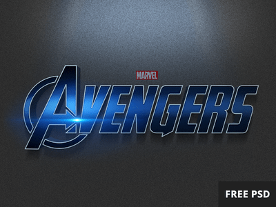Free Avengers PSD text style