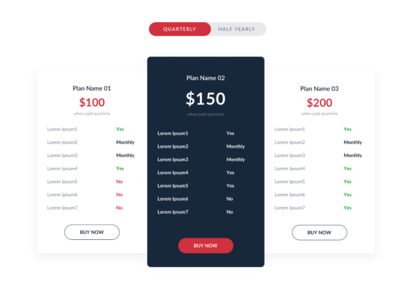 6 Minimal Pricing Tables For Sketch