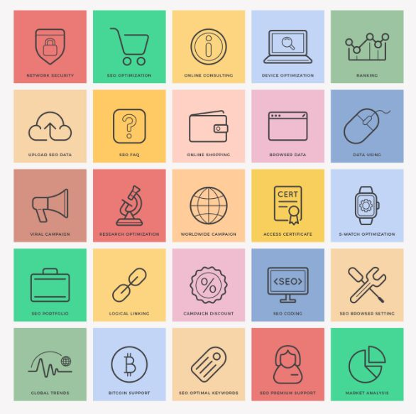 Free Flat SEO Icons Ai File-min