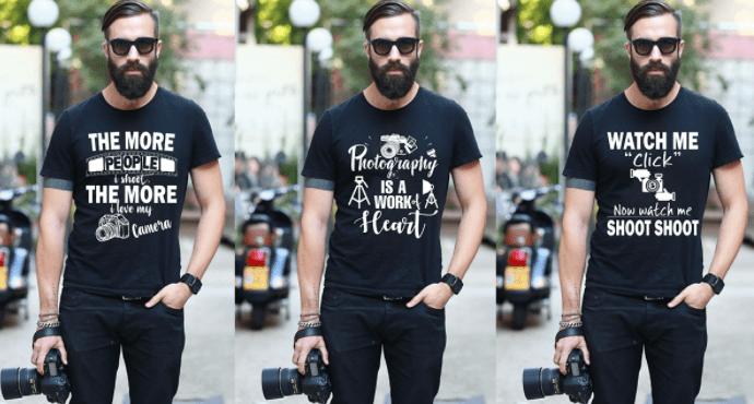Photography T-Shirt Design Bundle & Free PSD Mockup