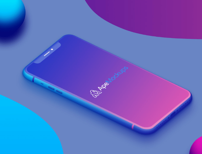 Colorful iPhone X Mockup Free