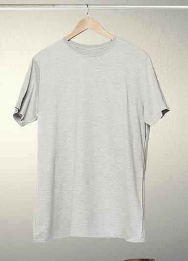 Free grey hanging T-shirt mock up