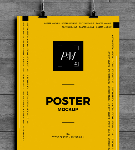 Hanging Over Wall Poster Mockup PSD-min