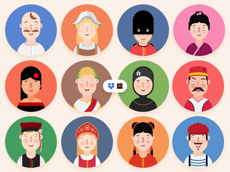 12 Avatars Free Icon Set