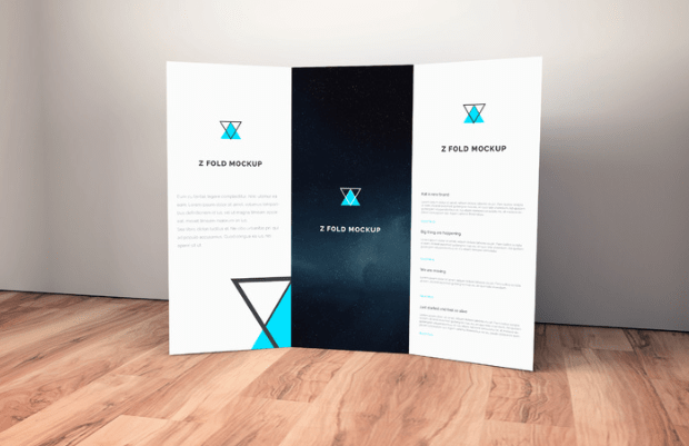 Brochure on Wooden Floor Mockup-min