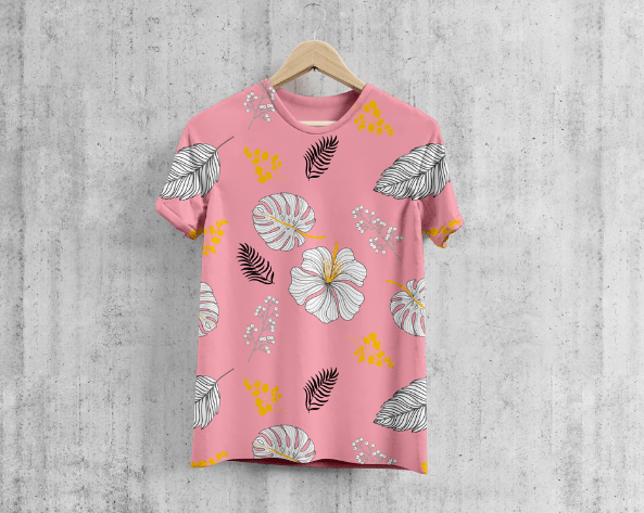 Free Round Neck Cool T-Shirt Mockup-min