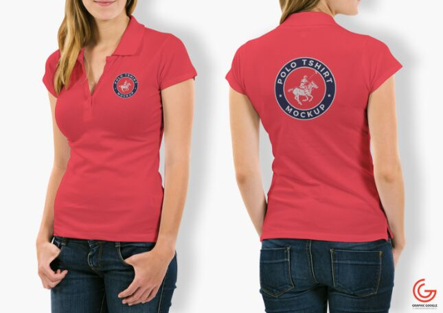 Free Woman With Polo T-Shirt Mockup PSD-min