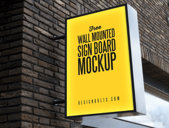 Outdoor Advertising Wall Mounted Sign Board Mockup PSD-min