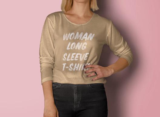 Woman Long Sleeve T-Shirt Mockup-min