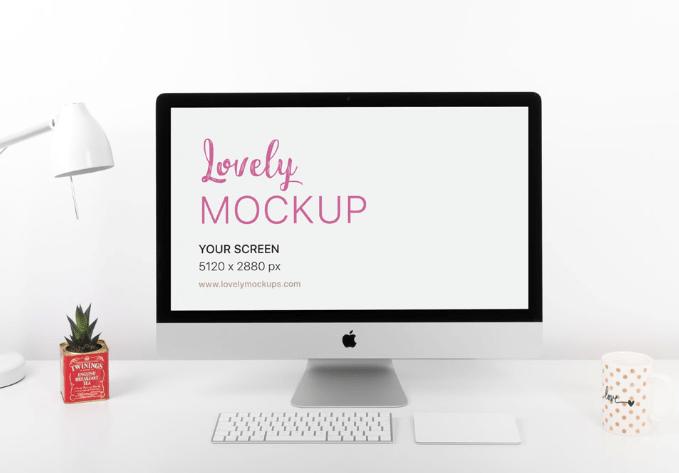 iMac Mockup On Clean White Desk-min