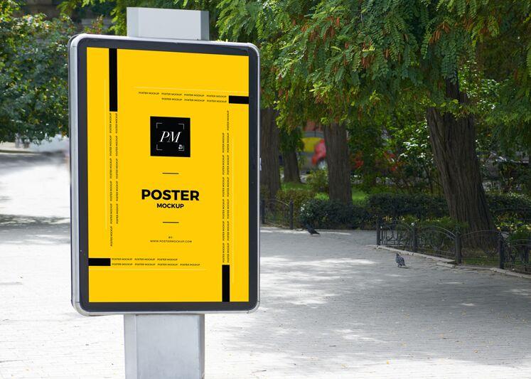City Street Outdoor Advertisement Vertical Poster Mockup-min