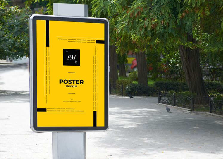 City Street Outdoor Advertisement Vertical Poster Mockup-min