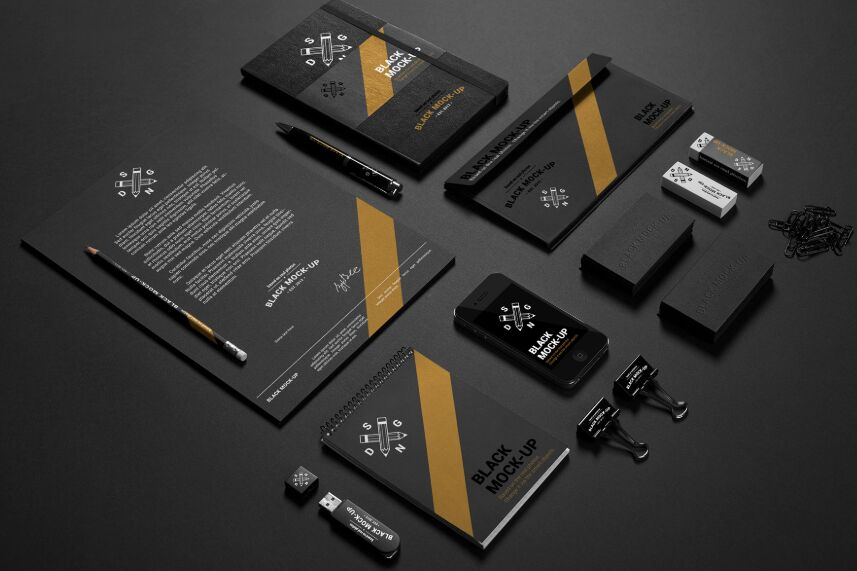 Elite Black branding mockup Free PSD