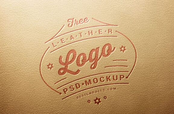 Free Leather Stamping Logo Mockup PSD-min