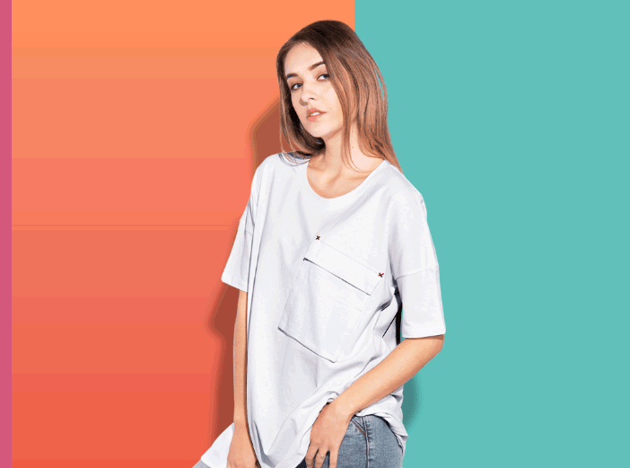 Woman oversize T-shirt mockup with transparent bg-min