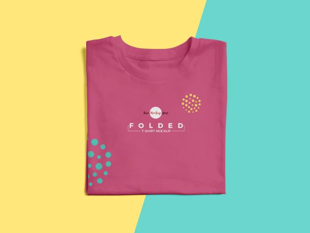 Free Brand Folded T-Shirt Mockup PSD