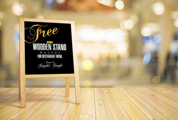 Free Wooden Stand MockUp For Restaurant Menu-min
