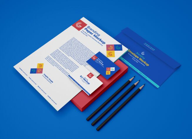 Basic Graphic Stationery Branding Mockup PSD For 2019