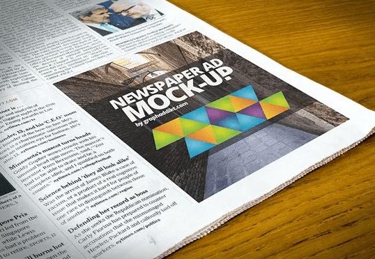 Free Newspaper Advert Psd Mockup