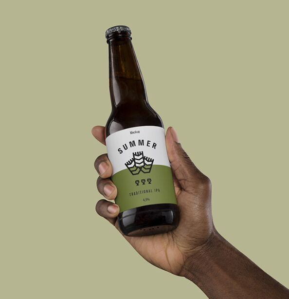 Hand Holding Beer Mockup