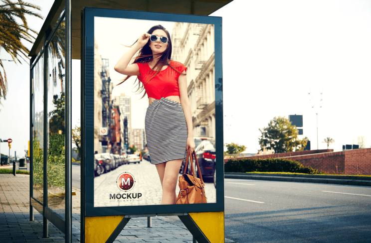 Outdoor Bus Stop Billboard Mockup For Advertisement