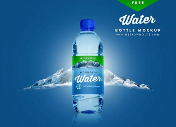 Premium PET Water Bottle Mockup PSD