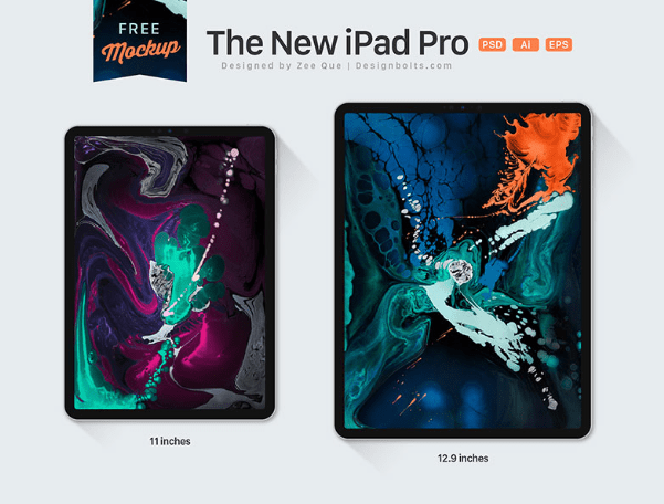 The New Apple iPad Pro 11 & 12.9 Inches All Screen Mockup