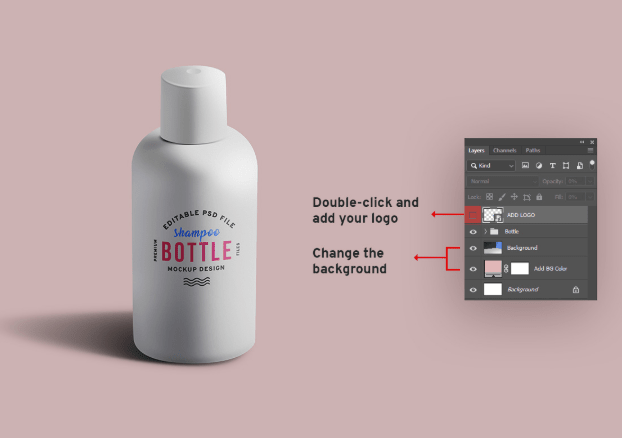 Cosmetic Shampoo Lotion Bottle Mockup PSD