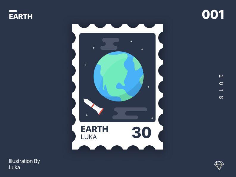 Earth Stamp Mockup For Sketch