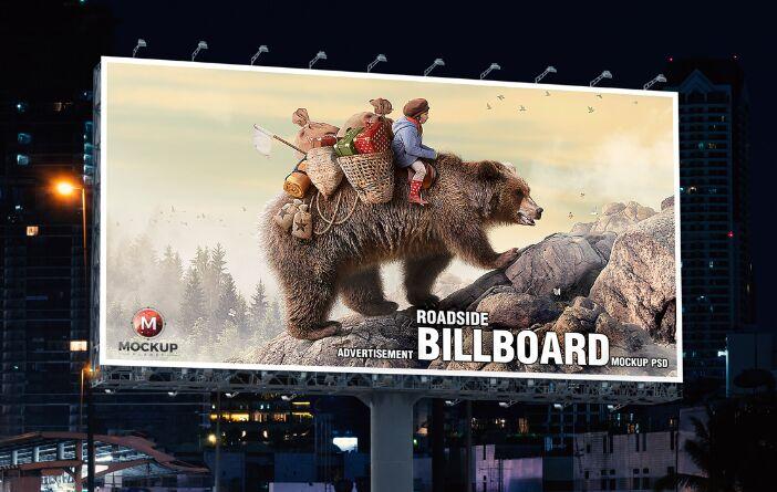 Free Roadside Outdoor Advertisement Billboard Mockup PSD 2019