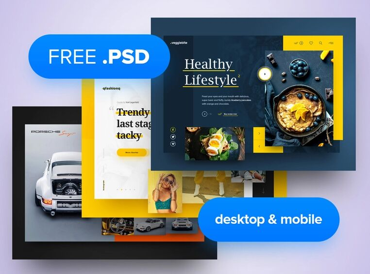 3x Free Mobile Desktop Header Template PSD