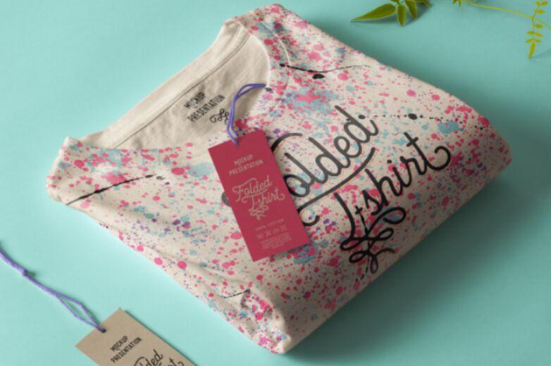 Folded T-Shirt Mockup Template 2