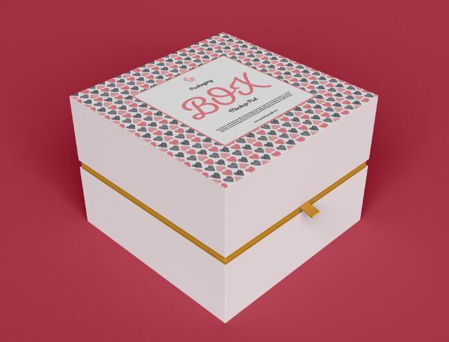 Half Side Packaging Box Mockup PSD