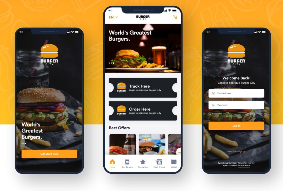 Burger City - Free Adobe XD UI kit