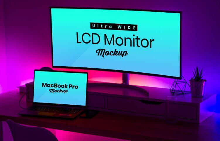 LCD Monitor & MacBook Pro Mockup PSD