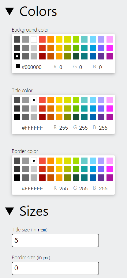 Banner Generator Colors and Size